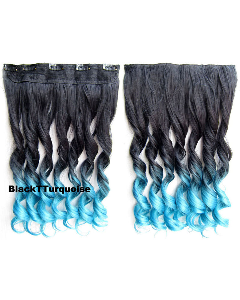 24 Inch Women Artistic Body Wave Curly Long One Piece 5 Clips Clip in Synthetic Hair Ombre Black Turquoise