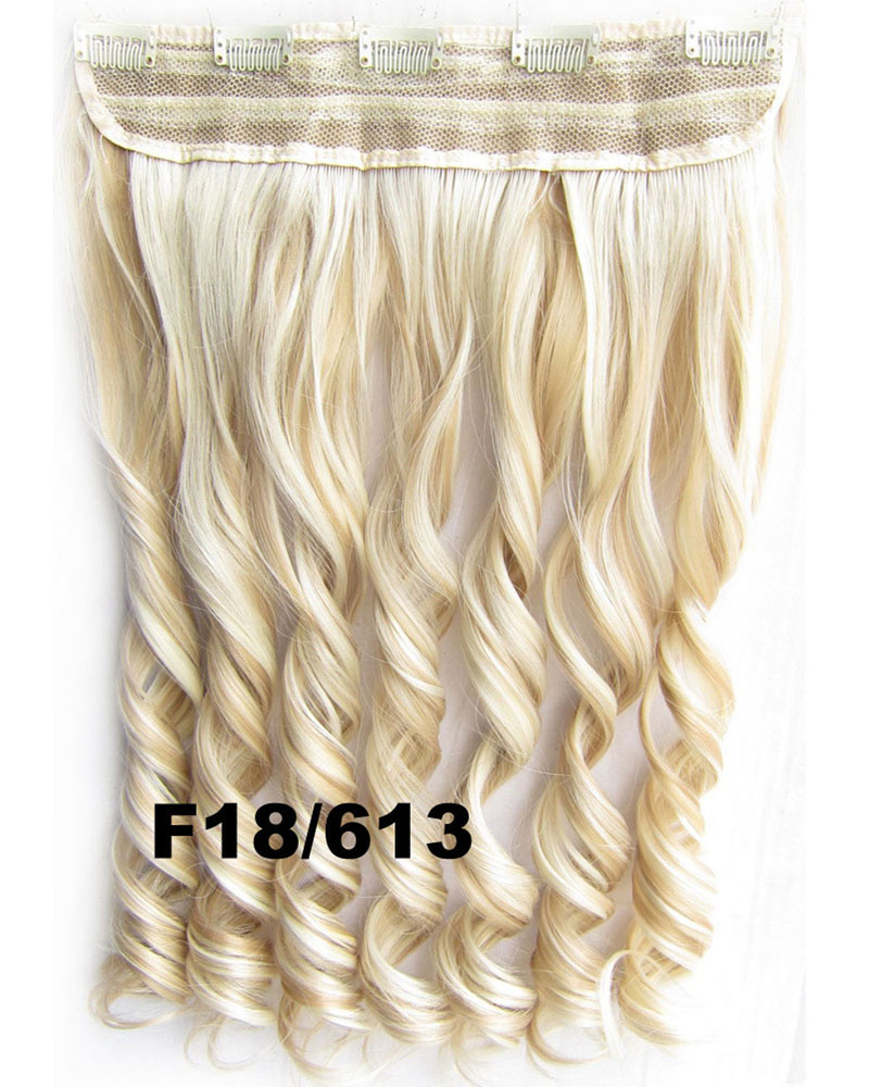 24 Inch Women Attractive Body Wave Curly Long One Piece 5 Clips Clip in Synthetic Hair Ombre F18/613#