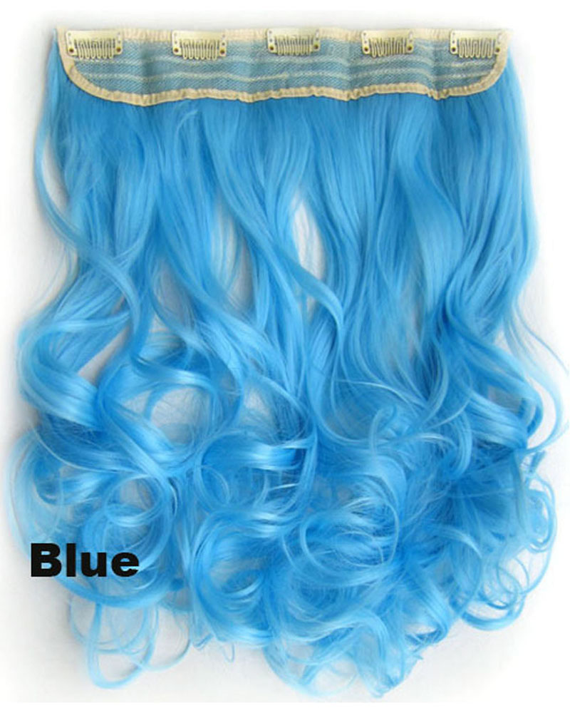 24 Inch Women Beautiful Body Wave Curly Long One Piece 5 Clips Clip in Synthetic Hair Extension Ombre Blue