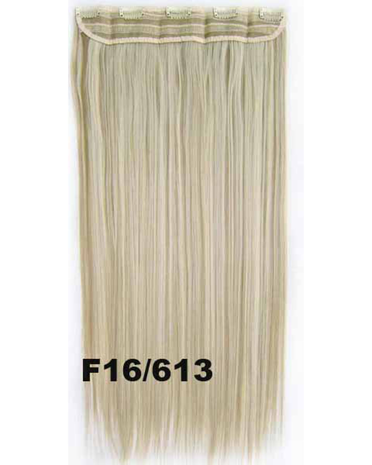 24 Inch Women Bewitching Straight Long One Piece 5 Clips Clip in Synthetic Hair Extension F16/613