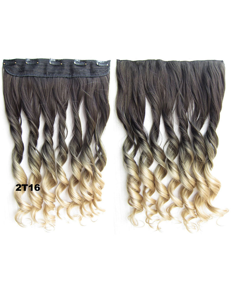 24 Inch Women  Charismatic Body Wave Curly Long One Piece 5 Clips Clip in Synthetic Hair Ombre 2T16