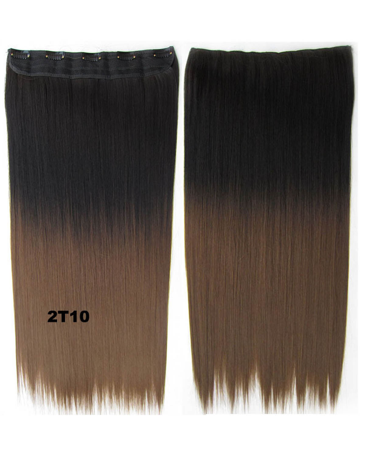24 Inch Women Classic Body Wave Straight  Long One Piece 5 Clips Clip in Synthetic Hair Extension Two tone 2T10