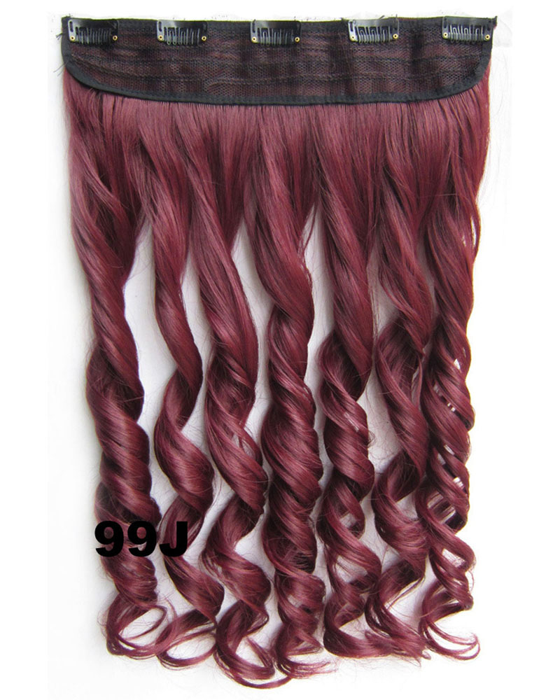 24 Inch Women Conspicuous Body Wave Curly Long One Piece 5 Clips Clip in Synthetic Hair 99J