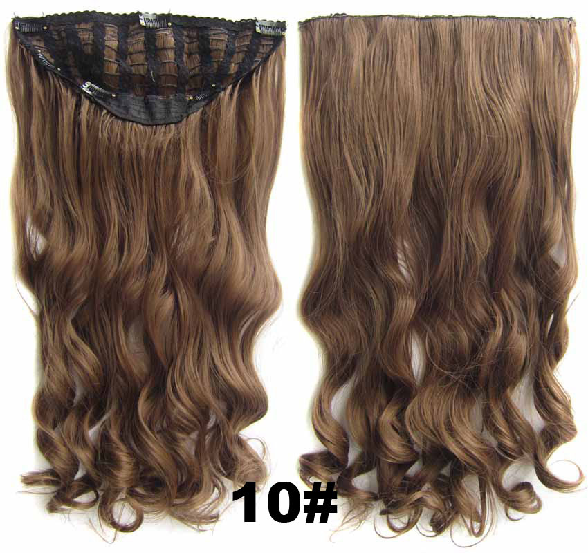 24 Inch Women Curly and Long Fascinating  One Piece 7 Clips Clip in Synthetic Hair Extension10#