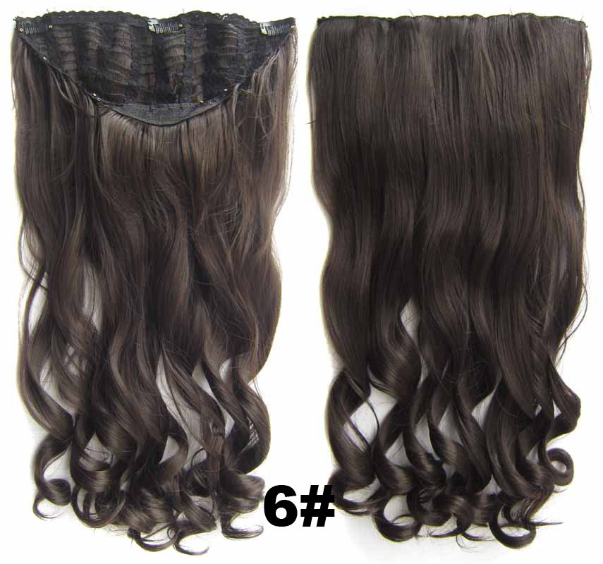24 Inch Women Curly and Long High-class One Piece 7 Clips Clip in Synthetic Hair Extension 6#