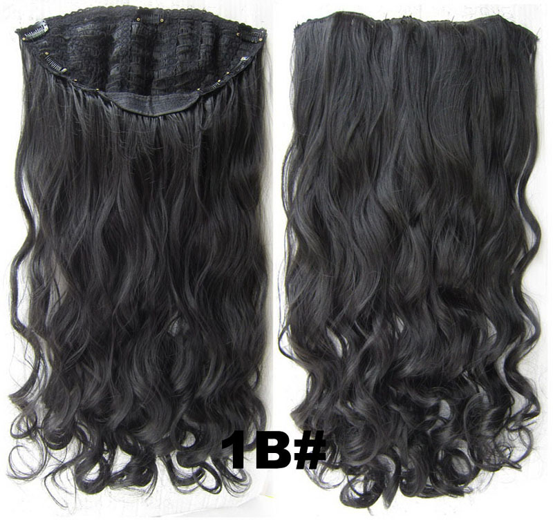24 Inch Women Curly and Long One Piece 7 Clips Clip in Synthetic Hair Extension 1B#
