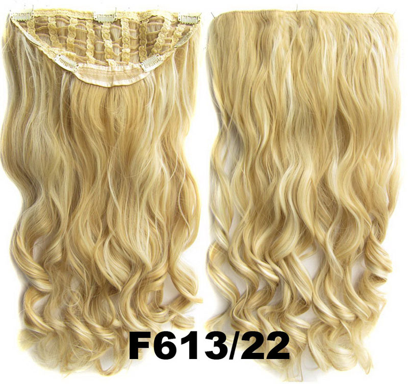 24 Inch Women Curly and Long Resplendent One Piece 7 Clips Clip in Synthetic Hair Extension F613/22 Simpsons Hairpiece