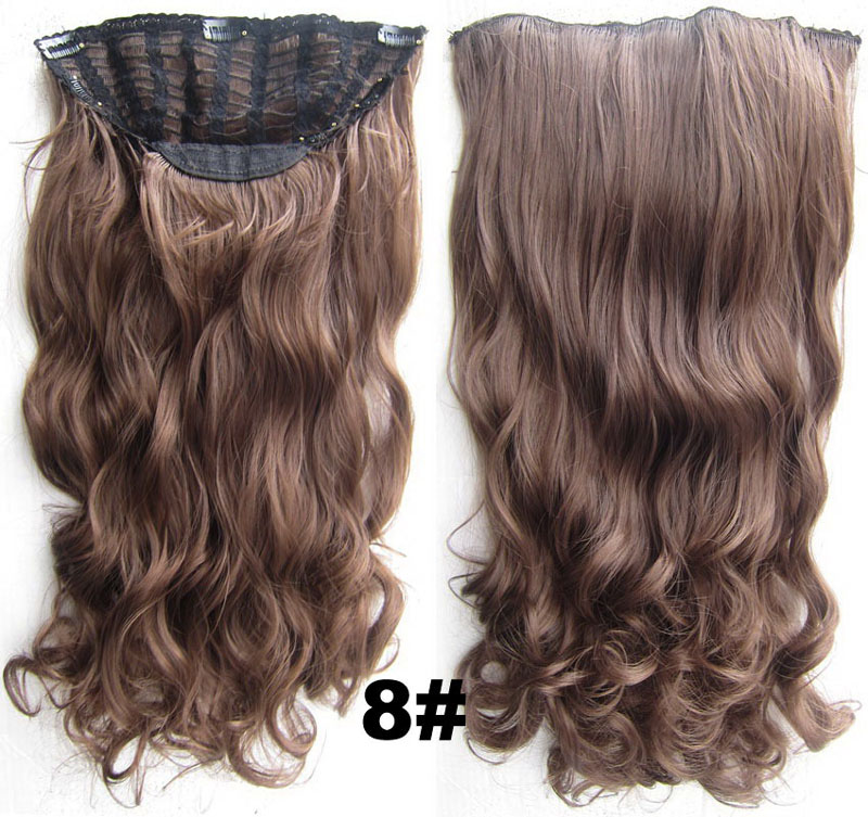 24 Inch Women Curly and Long Salable One Piece 7 Clips Clip in Synthetic Hair Extension8#
