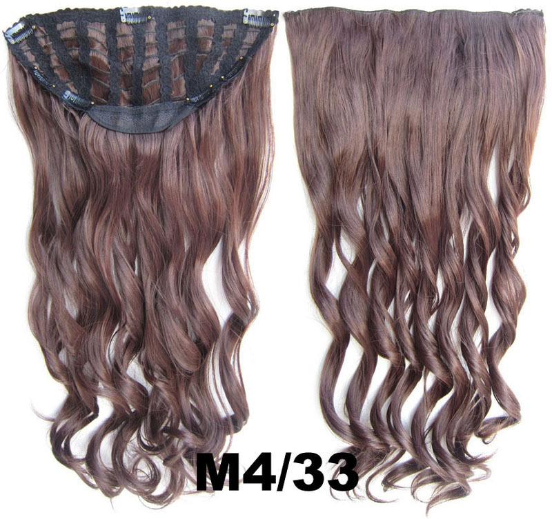 24 Inch Women Curly and Long  Seductive One Piece 7 Clips Clip in Synthetic Hair Extension M4/33