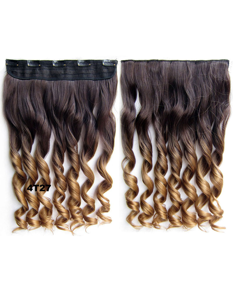 24 Inch Women Enchanting Body Wave Curly Long One Piece 5 Clips Clip in Synthetic Hair Ombre 4T27