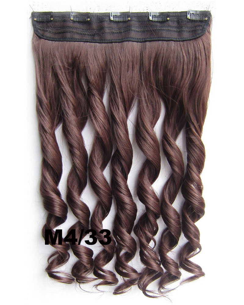 24 Inch  Women Excellent  Body Wave Curly Long One Piece 5 Clips Clip in Synthetic Hair Extension M4/33