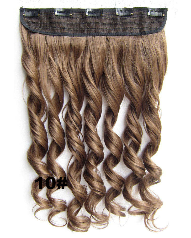 24 Inch Women Fancy Body Wave Curly Long One Piece 5 Clips Clip in Synthetic Hair Extension  10#