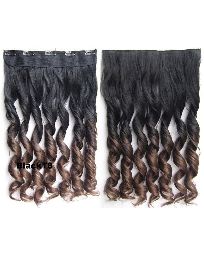24 Inch Women Fashional Body Wave Curly Long One Piece 5 Clips Clip in Synthetic Hair Extension Ombre BlackT8#