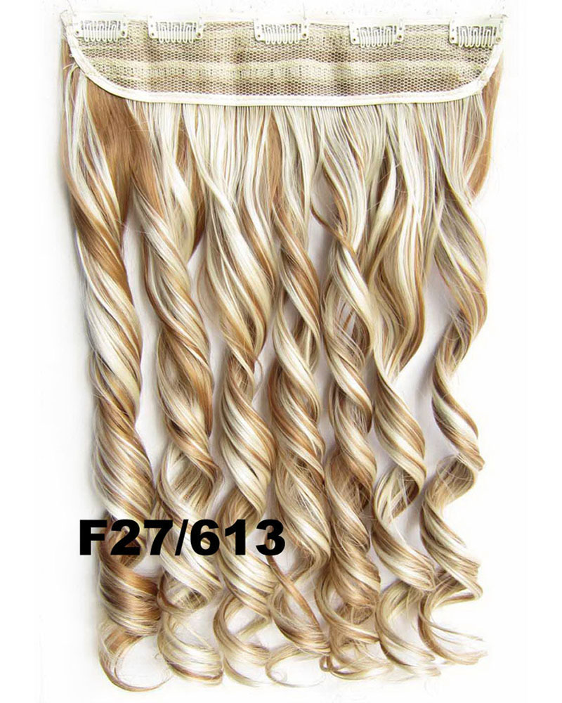 24 Inch Women Full  Body Wave Curly Long One Piece 5 Clips Clip in Synthetic Hair  F27/613