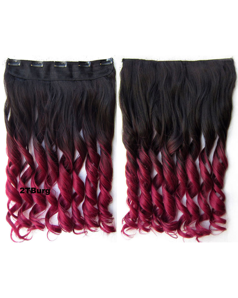 24 Inch Women Harajuku and Street Fashional Body Wave Curly Long One Piece 5 Clips Clip in Synthetic Hair Ombre 2TBurg