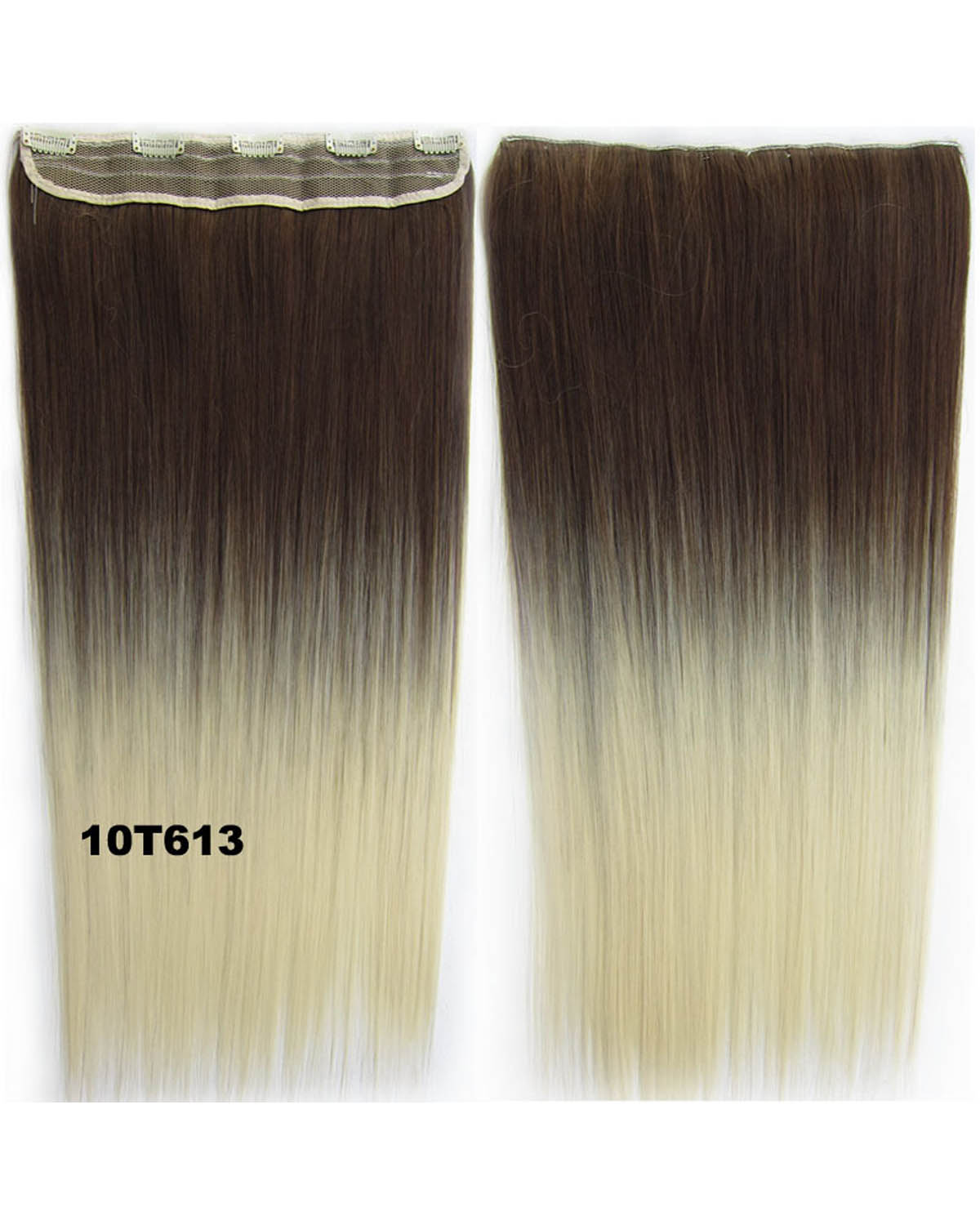 24 Inch Women High Quality Clean Straight Long One Piece 5 Clips Clip in Synthetic Hair Ombre 10T613
