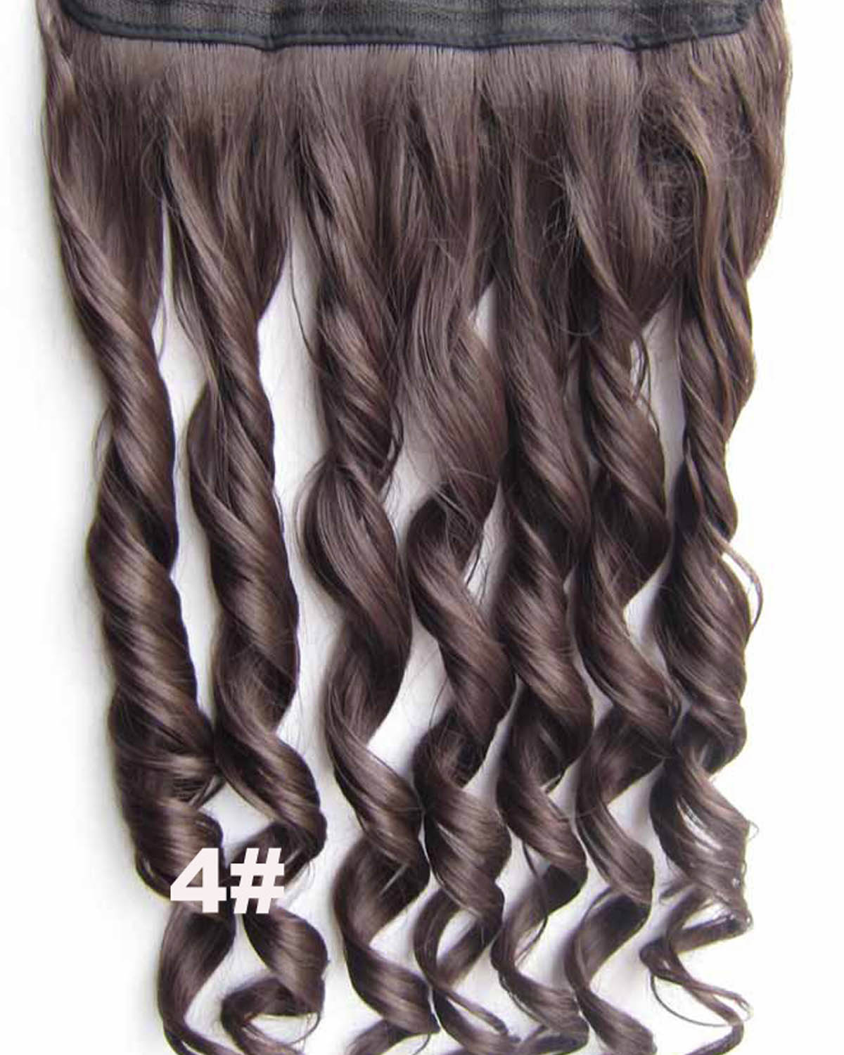 24 Inch Women in Style  Body Wave Curly Long One Piece 5 Clips Clip in Synthetic Hair Extension  4#