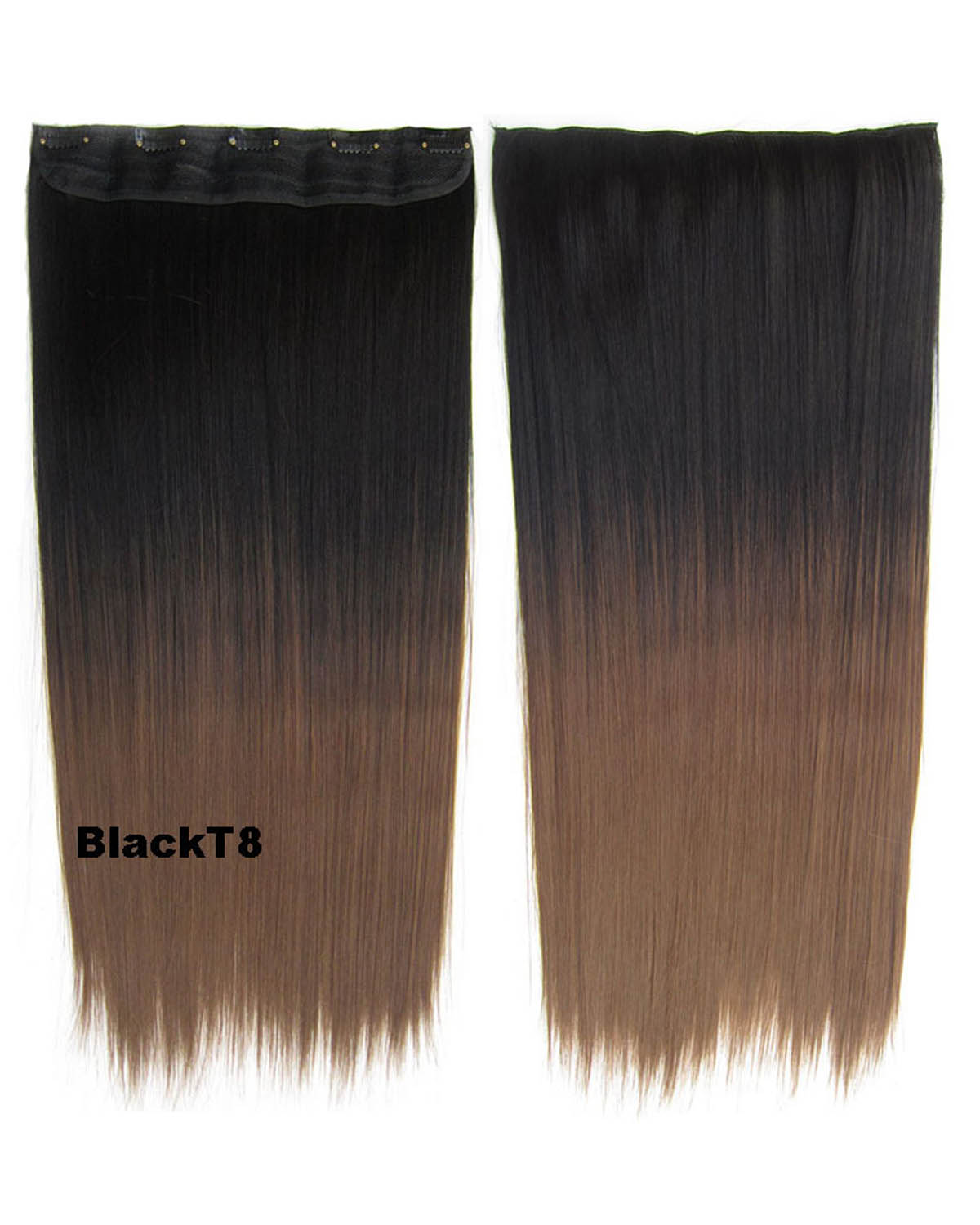 24 Inch Women Korean Style Clean Straight Long One Piece 5 Clips Clip in Synthetic Hair Ombre BlackT8