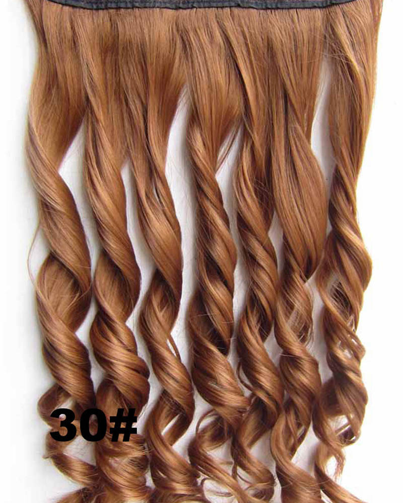 24 Inch Women Lifesome Body Wave Curly Long One Piece 5 Clips Clip in Synthetic Hair 30#