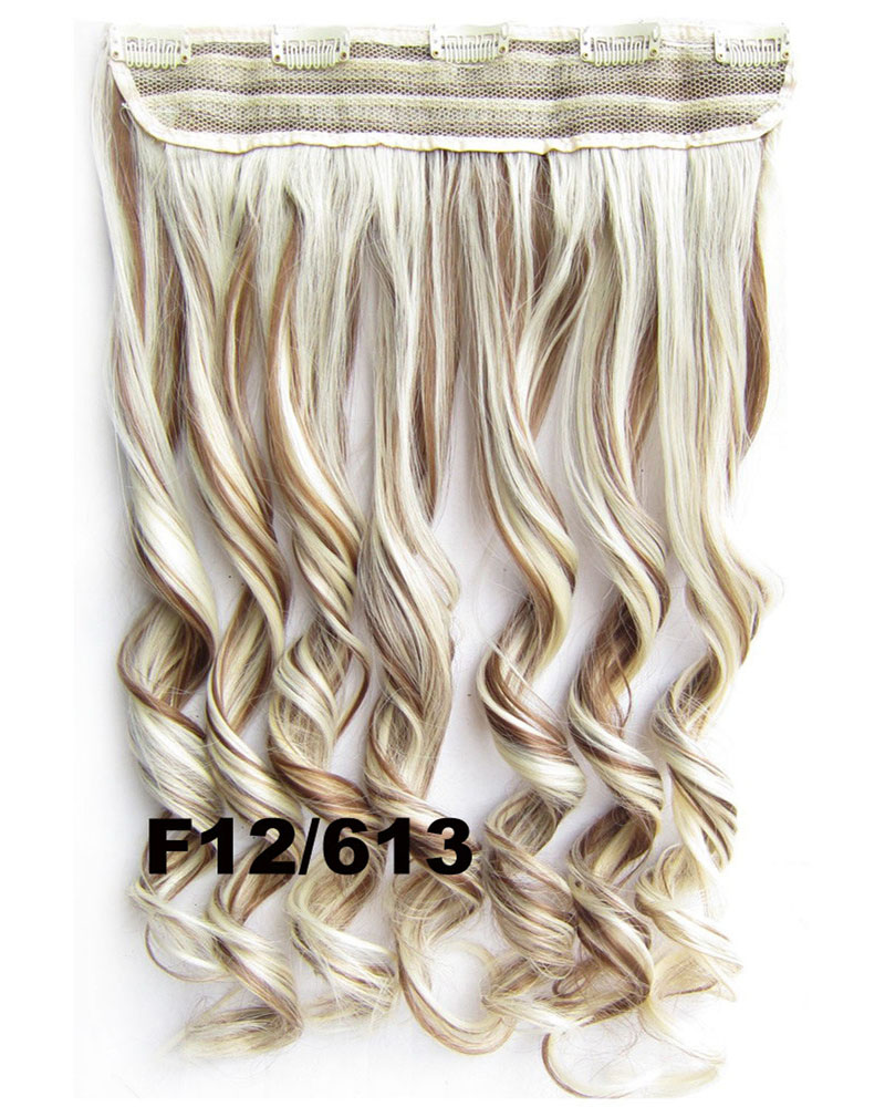 24 Inch Women Lustrous Body Wave Curly Long One Piece 5 Clips Clip in Synthetic Hair Extension  F12/613
