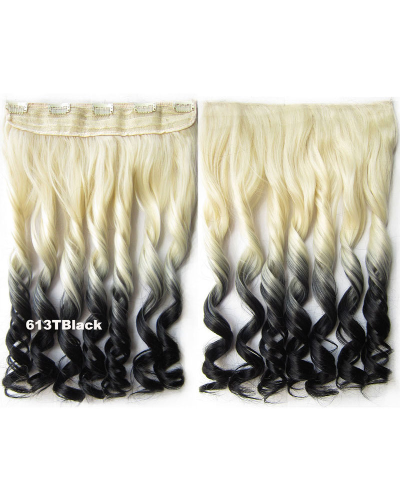 24 Inch Women Lustrous Body Wave Curly Long One Piece 5 Clips Clip in Synthetic Hair Ombre 613TBlack