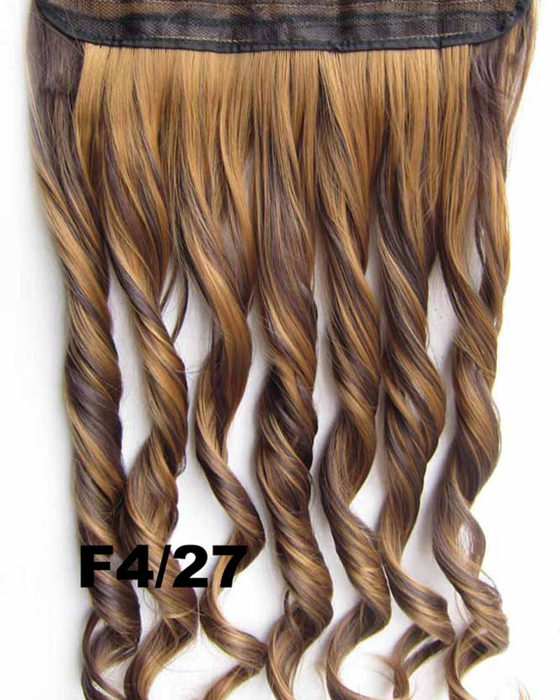 24 Inch Women Natural  Body Wave Curly Long One Piece 5 Clips Clip in Synthetic Hair Extension  F4/27