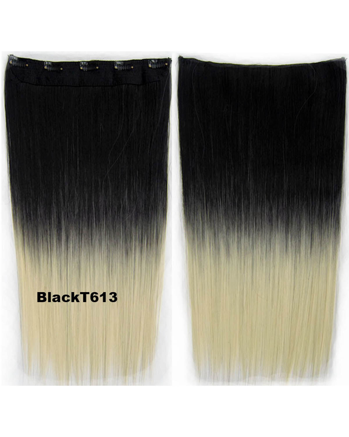 24 Inch Women Newly and Popular	 Straight Long One Piece 5 Clips Clip in Synthetic Hair Ombre  BlackT613