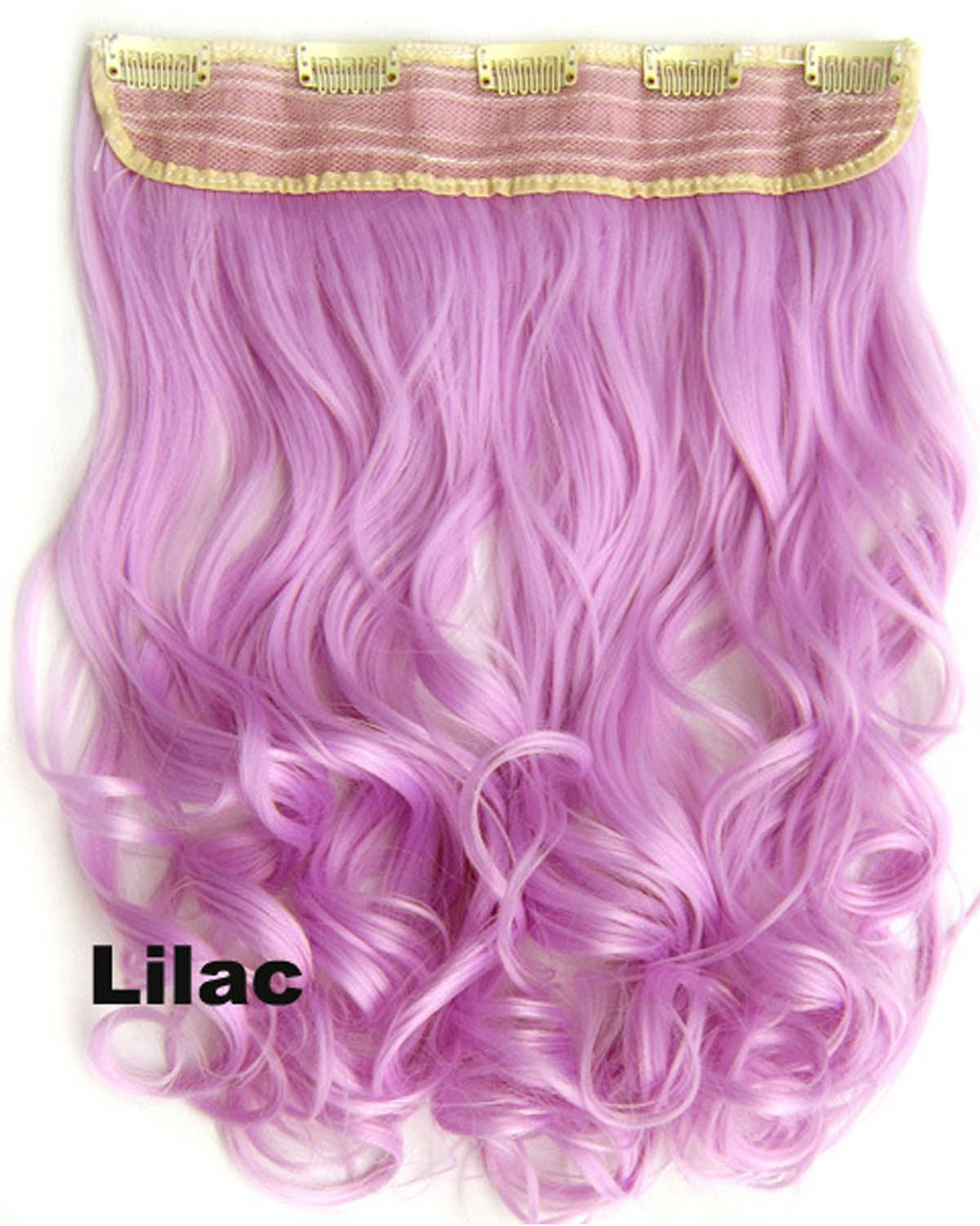 24 Inch Women Newly Body Wave Curly Long One Piece 5 Clips Clip in Synthetic Hair Extension Lilac