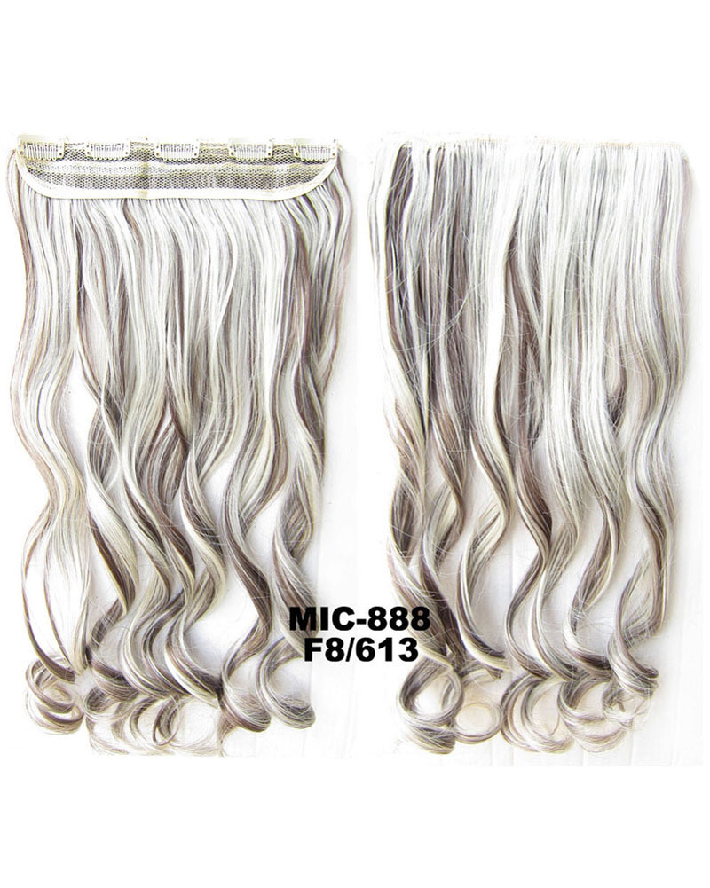 24 Inch Women Notable Body Wave Curly Long One Piece 5 Clips Clip in Synthetic Hair F8/613 100g