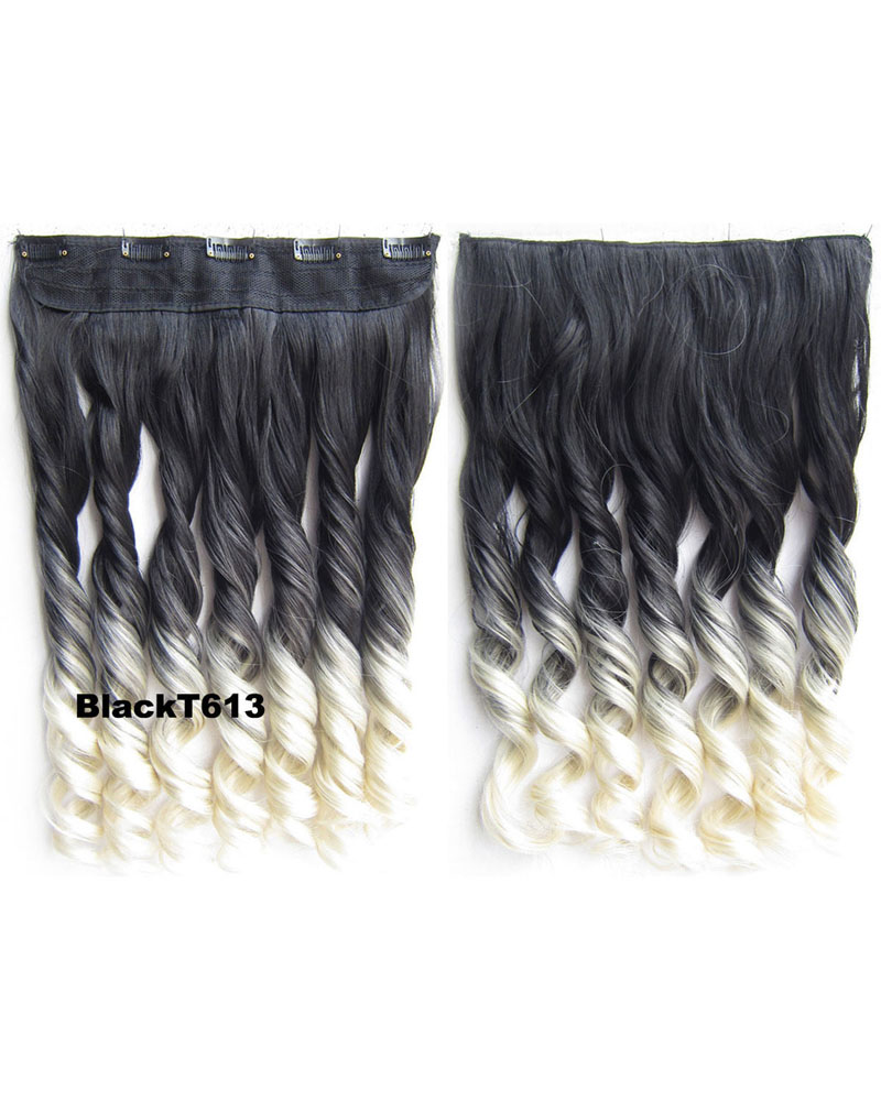 24 Inch Women Notable Body Wave Curly Long One Piece 5 Clips Clip in Synthetic Hair Ombre BlackT613
