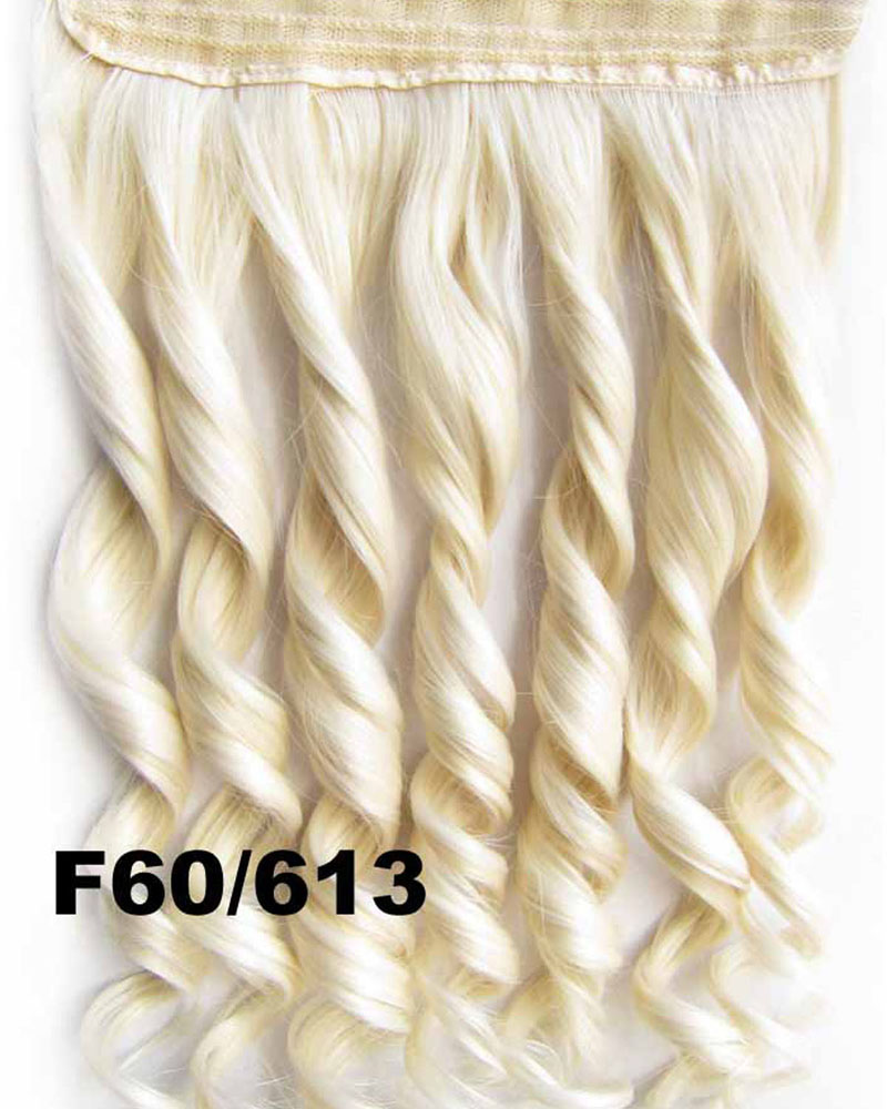 24 Inch Women Noticeable Body Wave Curly Long One Piece 5 Clips Clip in Synthetic Hair F60/613