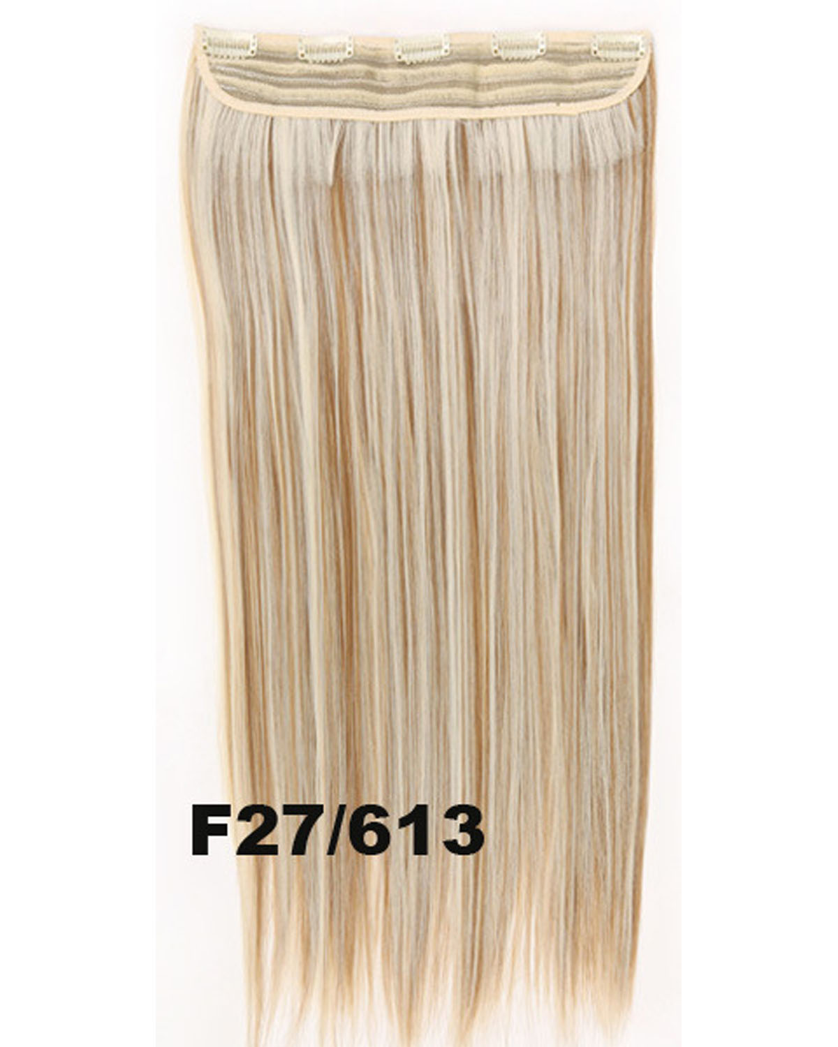 24 inch Women Popular Straight and Long One Piece 5 Clips Clip in Synthetic Hair Extension F27/613