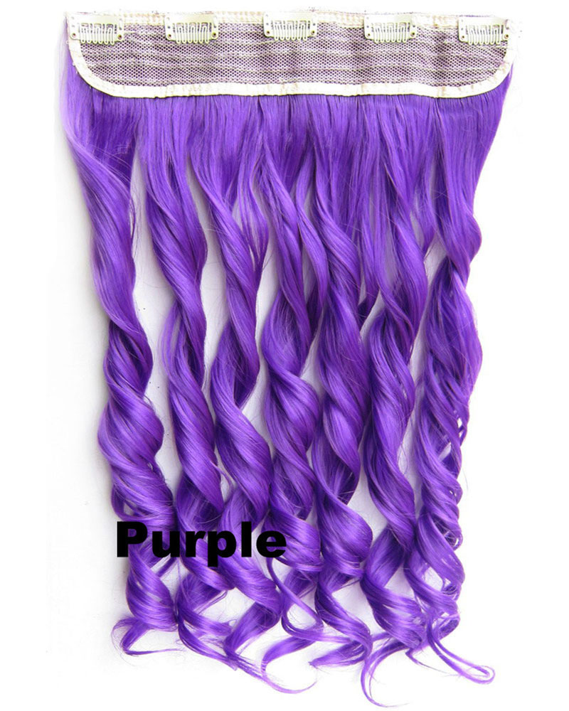 24 Inch Women  Punk Body Wave Curly Long One Piece 5 Clips Clip in Synthetic Hair Extension Purple