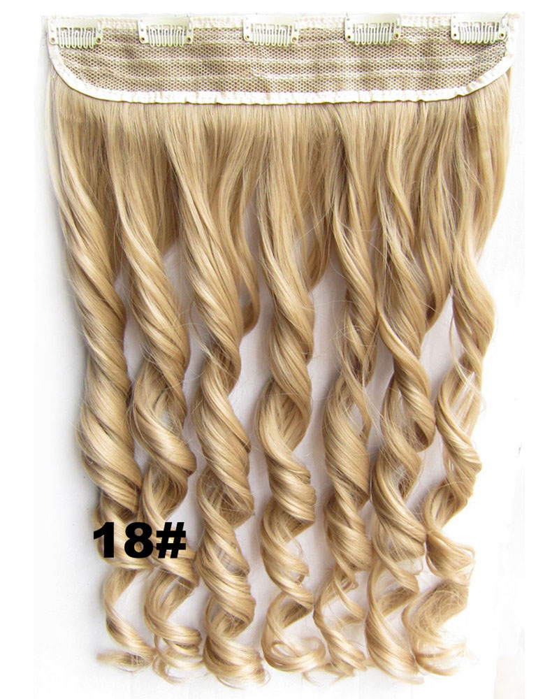 24 Inch  Women Remarkable Body Wave Curly Long One Piece 5 Clips Clip in Synthetic Hair Extension 18#