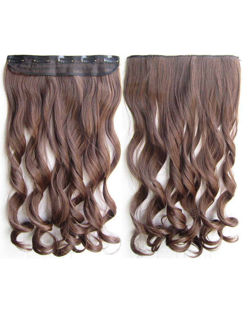 24 Inch Women Seductive Body Wave Curly Long One Piece 5 Clips Clip in Synthetic Hair M2/30 100g