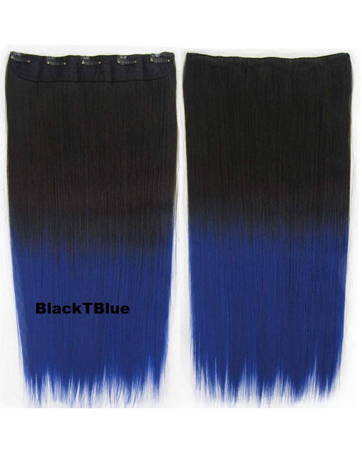24 Inch Women Seductiveody Straight Long One Piece 5 Clips Clip in Synthetic Hair Ombre BlackTblue