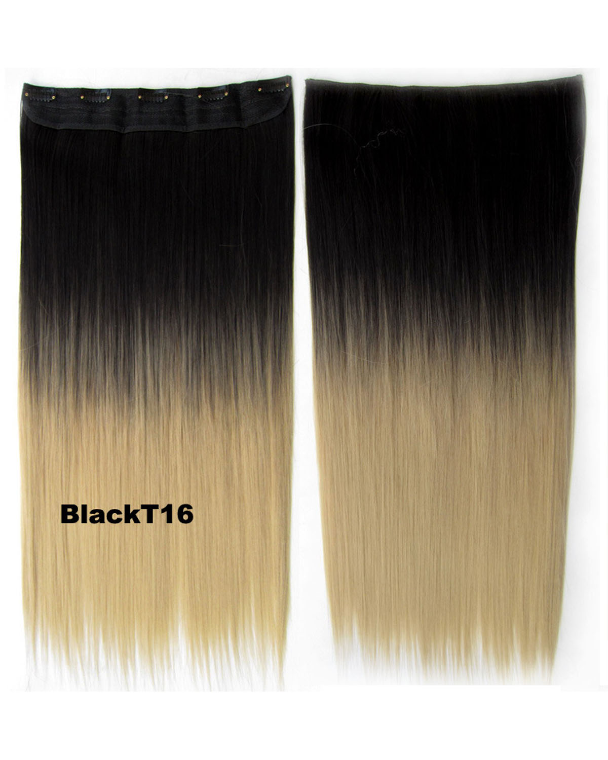 24 Inch Women Spectacular Straight Long One Piece 5 Clips Clip in Synthetic Hair Ombre BlackT16