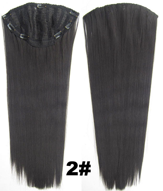 24 Inch Women Straight and Long Clean One Piece 7 Clips Clip in Synthetic Hair Extension2#