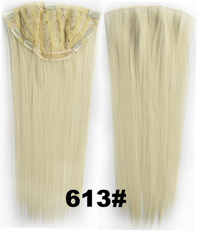 24 Inch Women Straight and Long Elegant One Piece 7 Clips Clip in Synthetic Hair Extension 613#