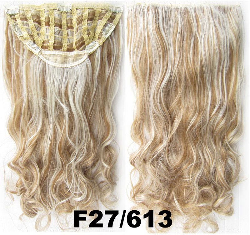 24 Inch Women Straight and Long Exquisite One Piece 7 Clips Clip in Synthetic Hair Extension F27/613