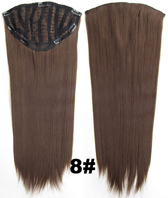 24 Inch Women Straight and Long Glowing One Piece 7 Clips Clip in Synthetic Hair Extension8#Simpsons Hairpiece