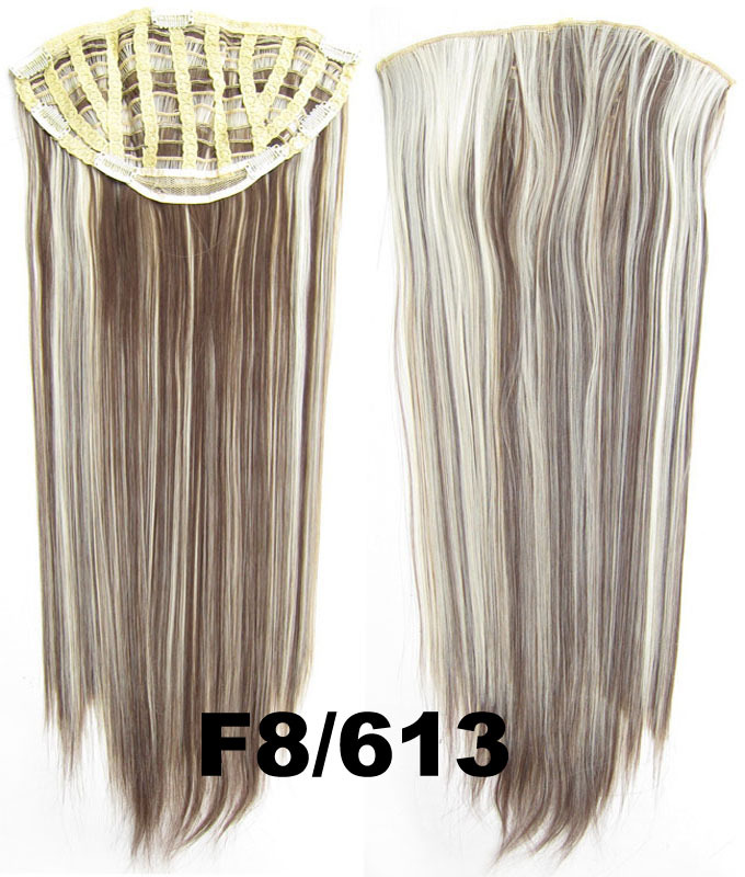 24 Inch Women Straight and Long Glowing One Piece 7 Clips Clip in Synthetic Hair ExtensionF8/613#