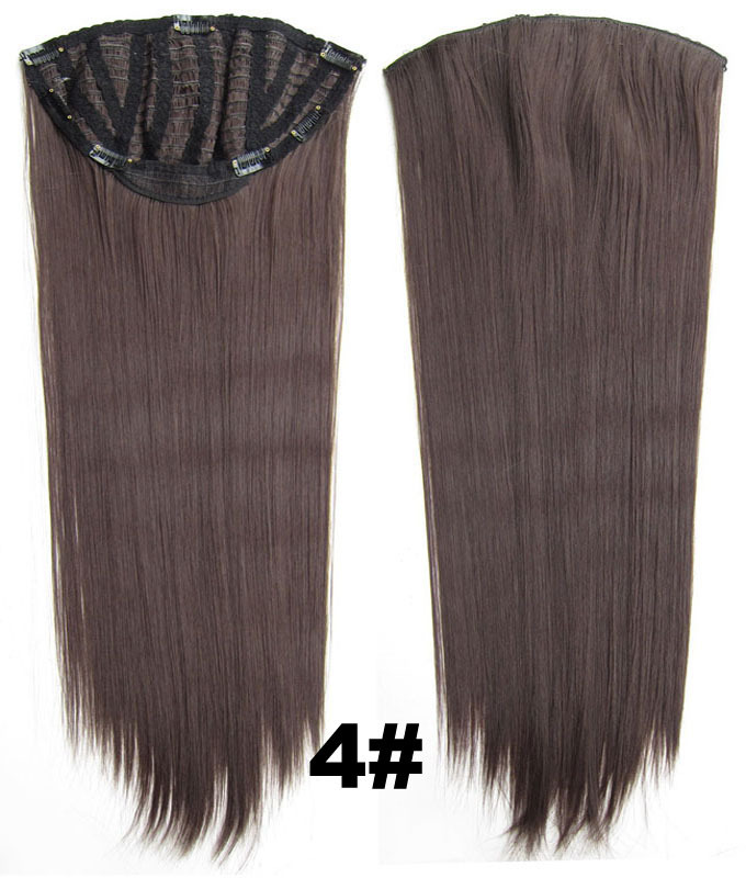 24 Inch Women Straight and Long Hot-sale One Piece 7 Clips Clip in Synthetic Hair Extension4#