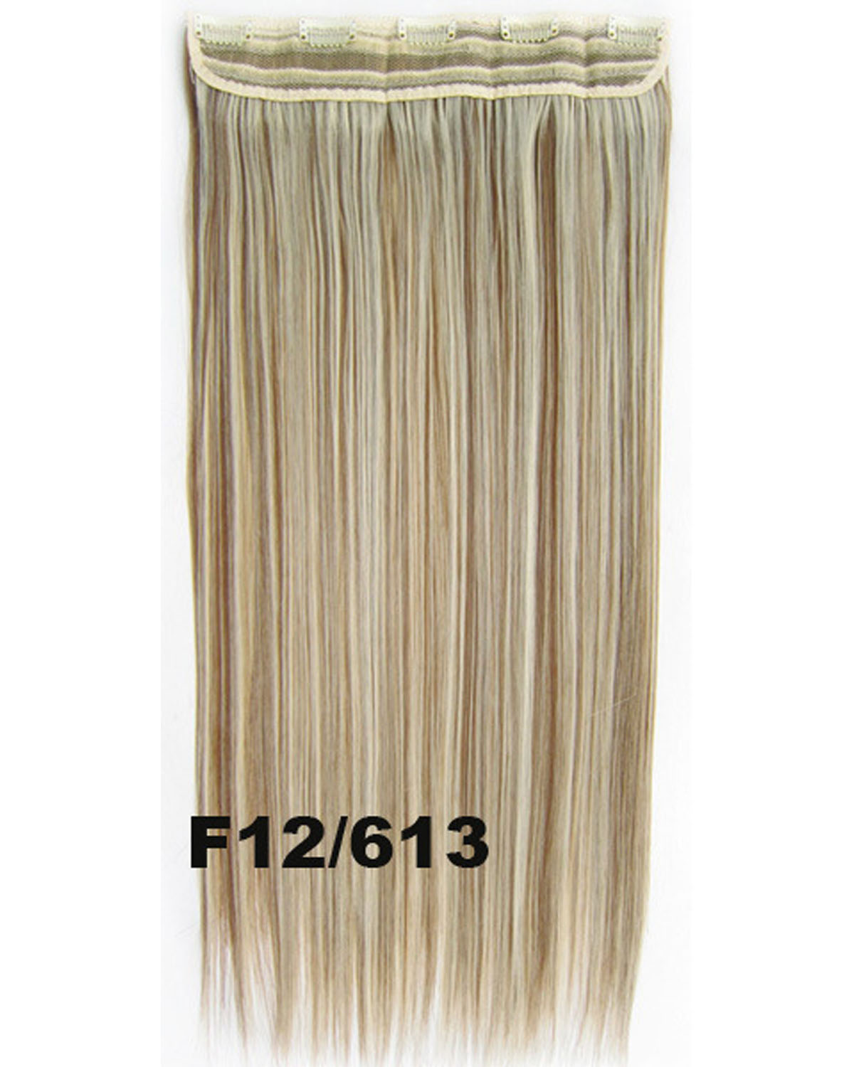 24 inch Women Straight and Long One Piece 5 Clips Clip in Synthetic Hair Extension F12/613