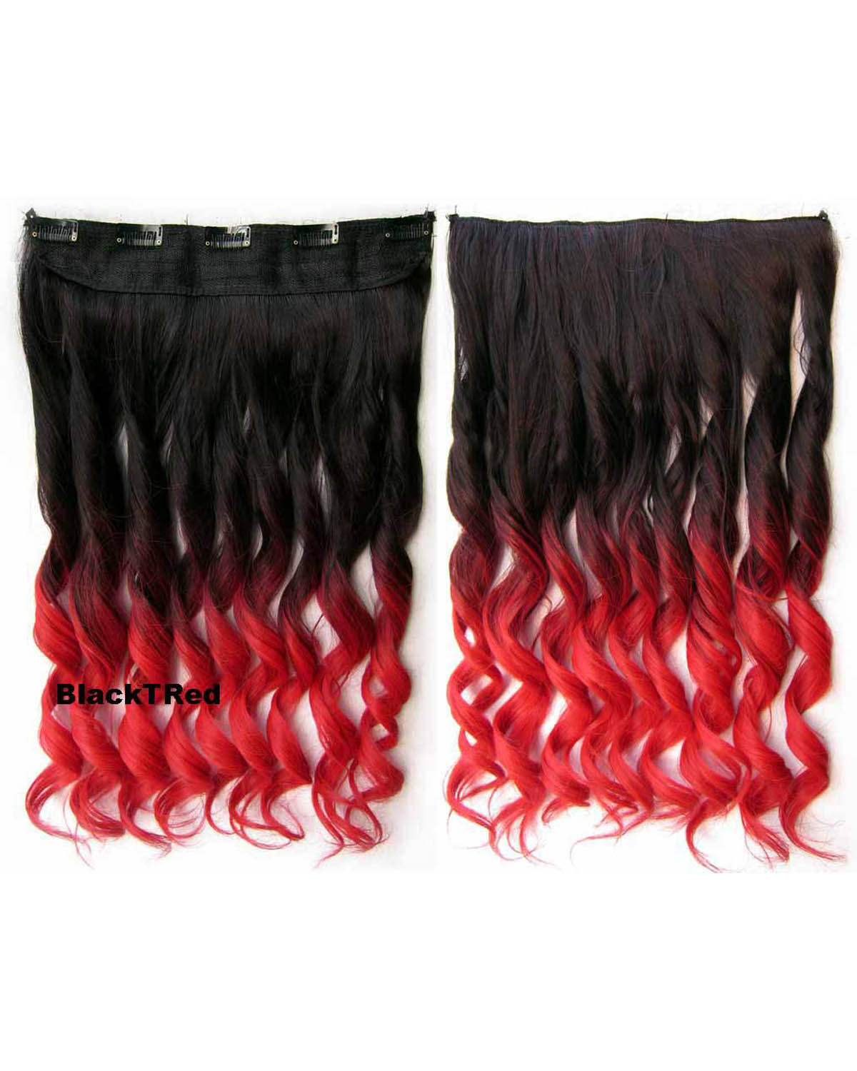 24 Inch Women Street Fashional Body Wave Curly Long One Piece 5 Clips Clip in Synthetic Hair Ombre Dip dye BlackTRed