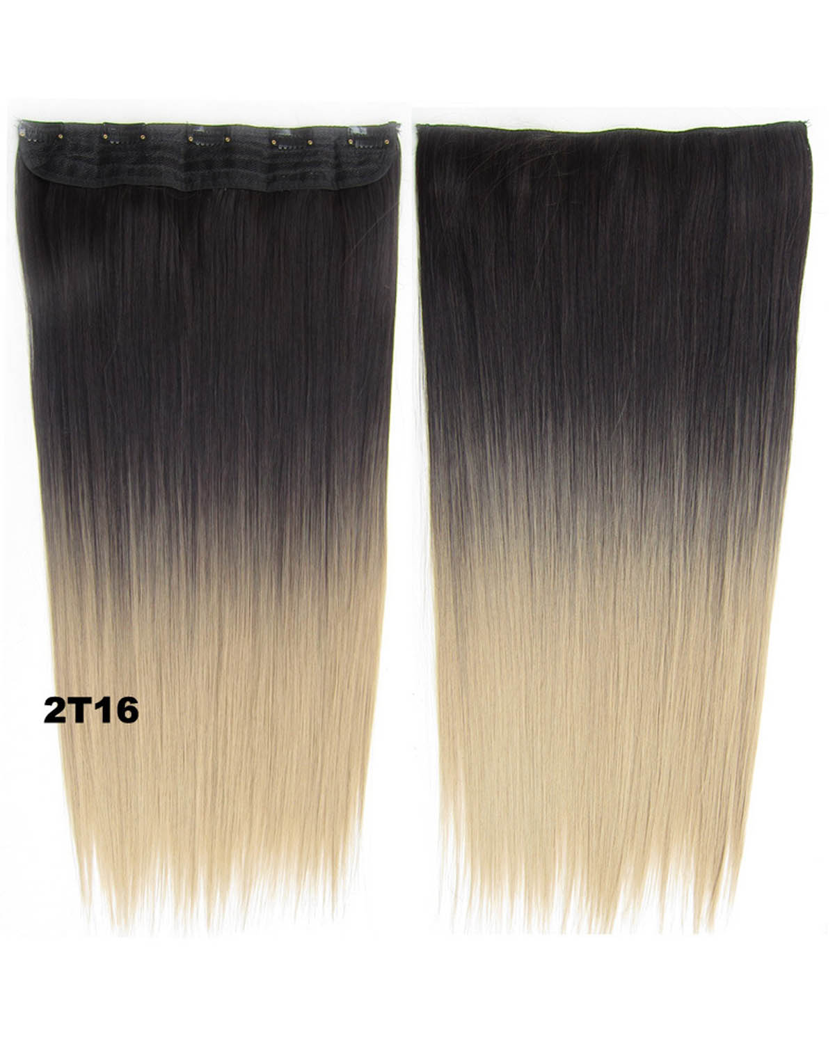 24 Inch Women Striking Straight Long One Piece 5 Clips Clip in Synthetic Hair Ombre 2T16