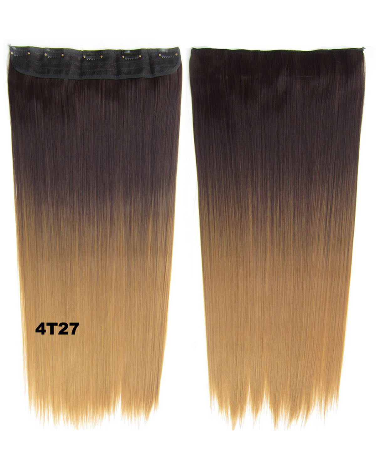24 Inch Women Striking Straight Long One Piece 5 Clips Clip in Synthetic Hair Ombre 4T27