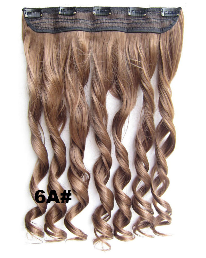 24 Inch Women Uncommon Body Wave Curly Long One Piece 5 Clips Clip in Synthetic Hair 6A#