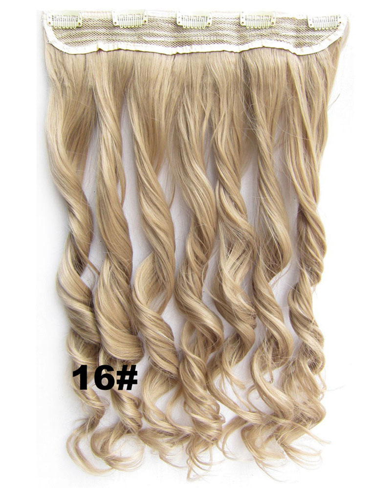 24 Inch Women UnordinaryBody Wave Curly Long One Piece 5 Clips Clip in Synthetic Hair Extension16#