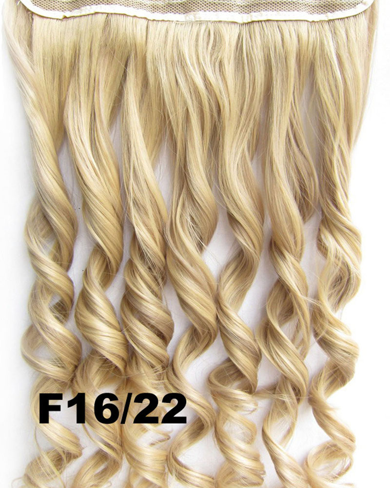 24 Inch Women Vibrant  Body Wave Curly Long One Piece 5 Clips Clip in Synthetic Hair F16/22